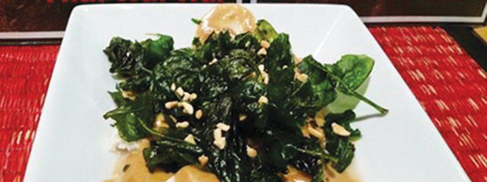 Ravioli sauce aux arachides et épinards